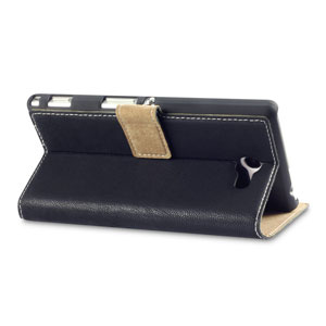 Adarga Leather-Style Sony Xperia M2 Wallet Stand Case - Navy Blue
