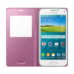 Official Samsung Galaxy S5 Mini S-View Premium Cover - Metallic Pink