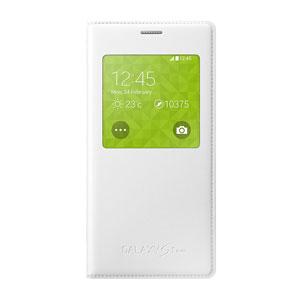 Official Samsung Galaxy S5 Mini S-View Premium Cover - Metallic White