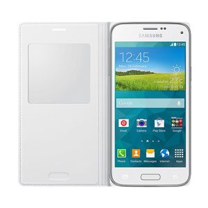 Official Samsung Galaxy S5 Mini S-View Premium Cover - Metallic White