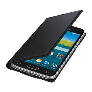Official Samsung Galaxy S5 Mini Flip Case Cover - Metallic Black