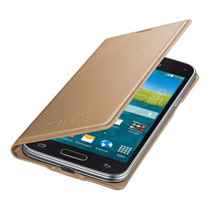 Official Samsung Galaxy S5 Mini Flip Case Cover Dimpled Gold P47540