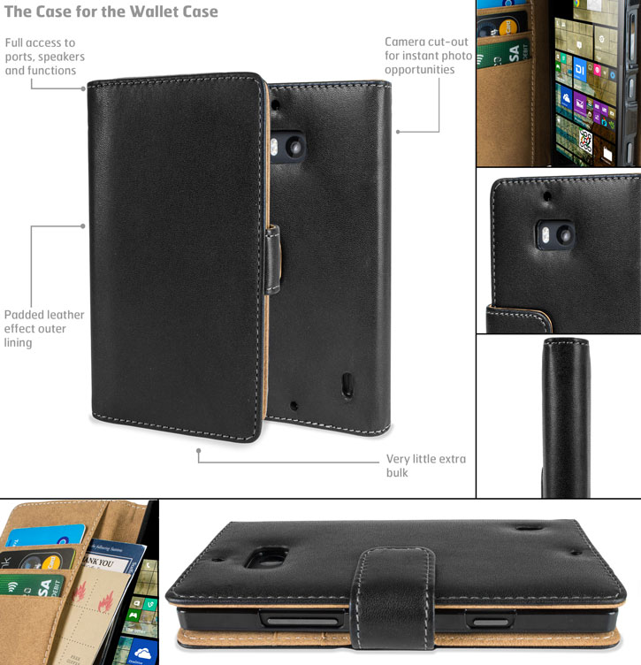 Adarga Nokia Lumia 930 Wallet Case - Black