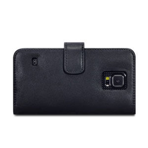 Olixar Premium Samsung Galaxy S5 Genuine Leather Wallet Case - Black