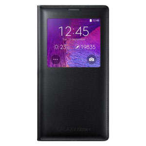 Official Samsung Galaxy Note 4 S View Cover Case - Smooth Black