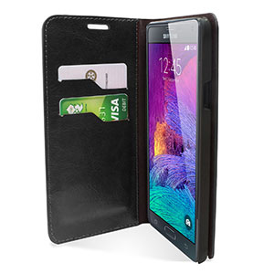 Encase Adarga Leather-Style Galaxy Note 4 Wallet Stand Case - Black