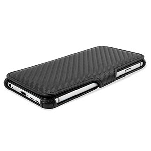 Encase Carbon Fibre-Style iPhone 6 Plus Wallet Case with Stand - Black