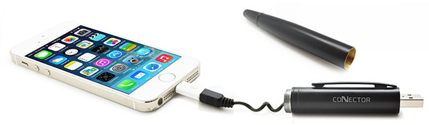 Connector+ 3-in-1 Charging Cable, Stylus and Pen - Black