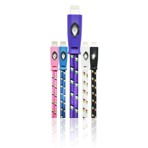 Câble Lightning Tressé Lumineux 1 Mètre Happy - Violet