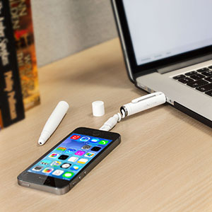 Connector+ 3-in-1 Charging Cable, Stylus and Pen - White