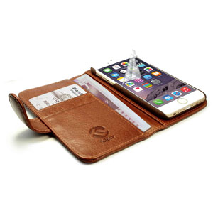Tuff-Luv Vintage Leather iPhone 6 Wallet Case - Brown