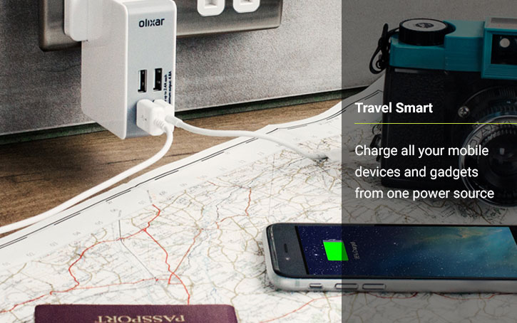 Olixar Travel Adapter with 4 USB ports 4.8A
