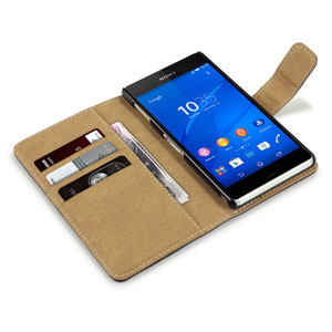 Encase Leather-Style Sony Xperia Z3 Wallet Case - Black / Tan