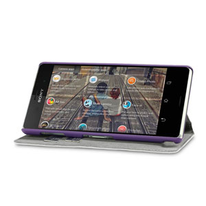 Encase Leather-Style Slim Sony Xperia Z3 Wallet Case With Stand - Purple