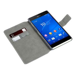 Encase Leather-Style Slim Sony Xperia Z3 Wallet Case With Stand - White