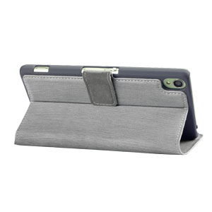 Encase Leather-Style Slim Sony Xperia Z3 Wallet Case With Stand - Grey