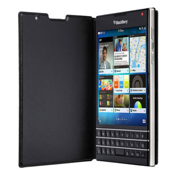 Official BlackBerry Passport Leather Flip Case - Black