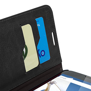 Encase Leather-Style Nexus 6 Wallet Case - Black