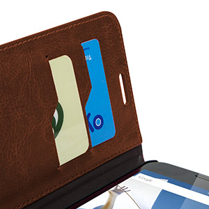 Encase Leather-Style Nexus 6 Wallet Case - Brown