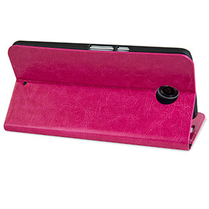 Encase Leather-Style Nexus 6 Wallet Case - Hot Pink