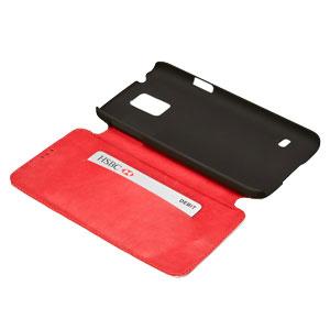 Redneck Red Line Leather Samsung Galaxy S5 Book Case - Brown