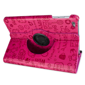 Encase Leather-Style Doodle Rotating iPad Air 2 Case - Hot Pink