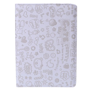 Encase Leather-Style Doodle Rotating iPad Air 2 Case - White