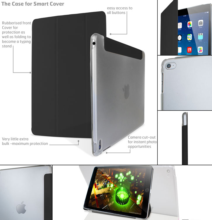 Encase Transparent Shell iPad Air 2 Folding Stand Case - Black