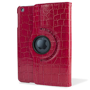 Encase Alligator Pattern Rotating iPad Mini 3 / 2 / 1 Case - Red