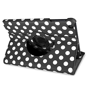 Encase Leather-Style Dotted Rotating iPad Mini 3 / 2 / 1 Case - Black