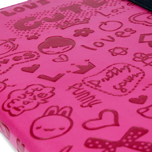 Encase Doodle Rotating iPad Mini 3 / 2 / 1 Case - Hot Pink