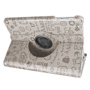 Encase Doodle Rotating iPad Mini 3 / 2 / 1 Case - White