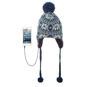 KitSound Audio Beanie Peruvian Knit Pom Pom - Navy / Cream