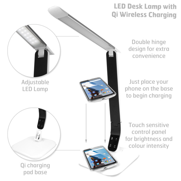 lampe de bureau led avec chargeur sans fil qi blanche. Black Bedroom Furniture Sets. Home Design Ideas