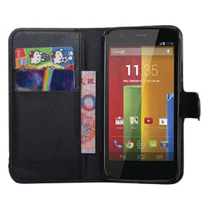 Enacse Moto G 2nd Gen Leather-Style Wallet Case - Black