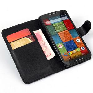 Encase Leather-Style Motoroloa Moto X 2nd Gen Wallet Case - Black