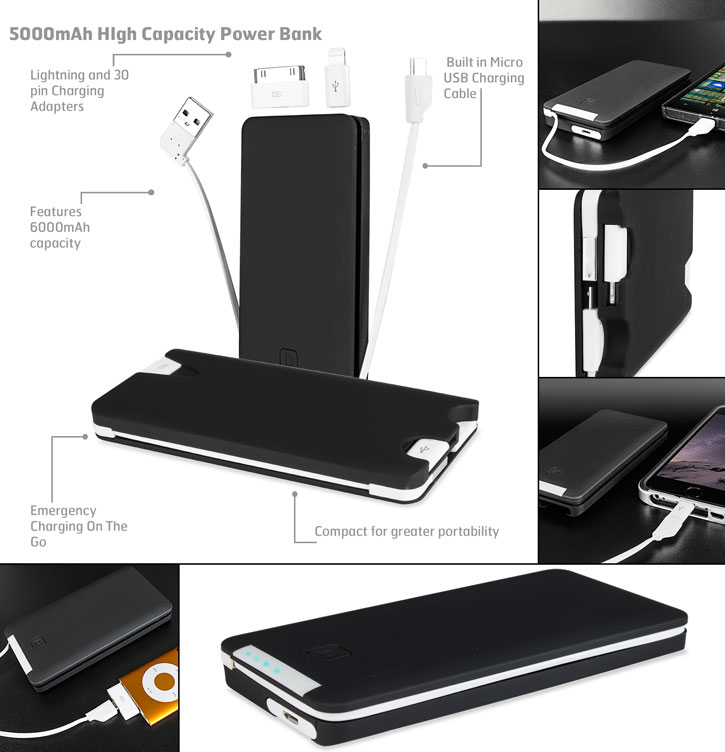Olixar 5000mAh High Capacity Power Bank with Built-in Cable