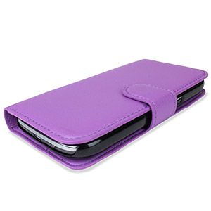 Encase Samsung Galaxy Ace 4 Leather-Style Wallet Case - Purple