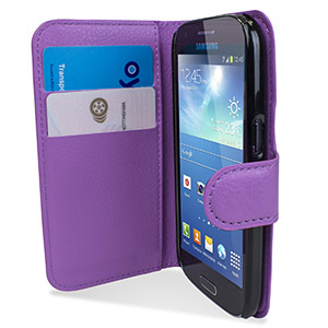 Encase Samsung Galaxy Ace 4 Leather Style Wallet Case - Purple