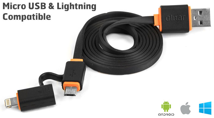 Olixar Micro USB / Lightning Dual Tip Flat Sync & Charge Cable - Black