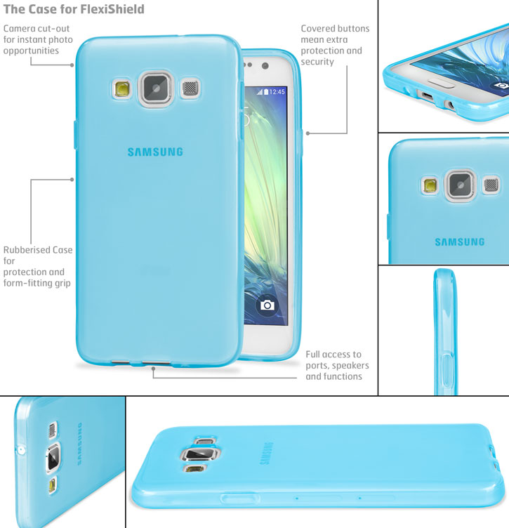 Encase FlexiShield Samsung Galaxy A7 Gel Case - Light Blue