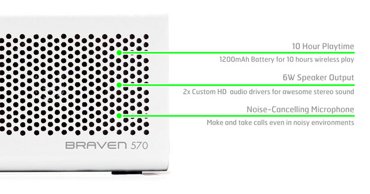 Braven 570 Wireless Bluetooth Speaker - Arctic White