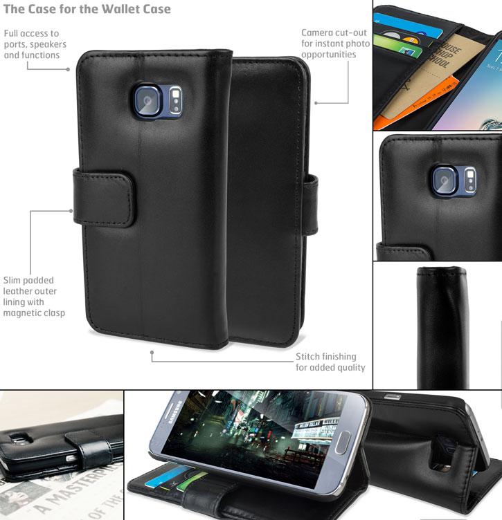 Olixar Premium Genuine Leather Samsung Galaxy S6 Wallet Case - Black
