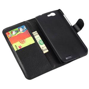 Encase Leather-Style Huawei Ascend G7 Wallet Case - Black