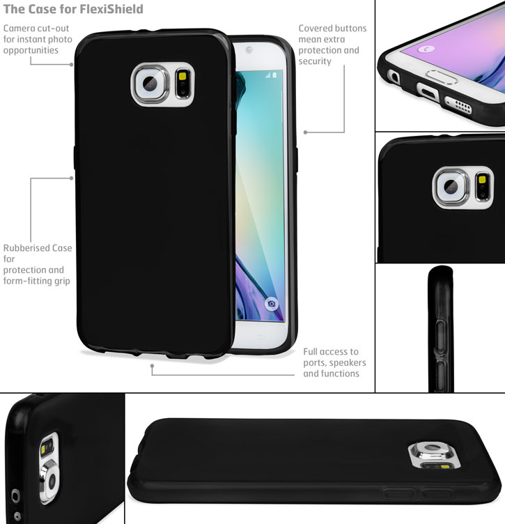 FlexiShield Samsung Galaxy S6 Gel Case - Black