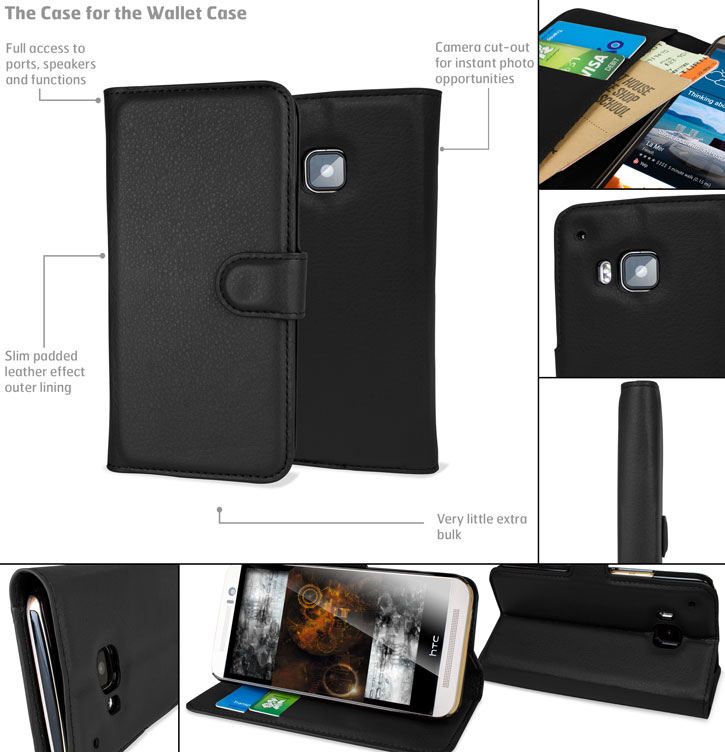Encase Leather-Style HTC One M9 Wallet Case - Black