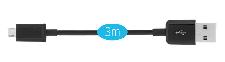 Extra Long 3m Micro USB Charge and Sync Cable - Black