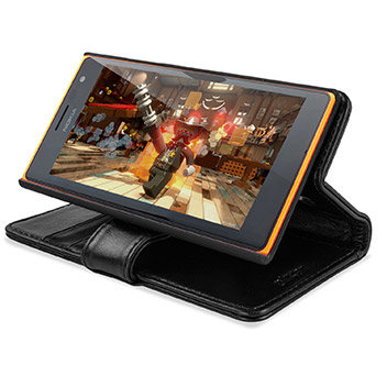 Encase Nokia Lumia 735 Genuine Leather Wallet Case - Black