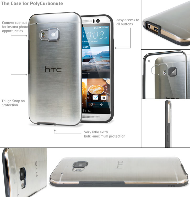 Official HTC One M9 Clear Case - Clear / Onyx Black