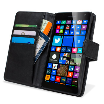 Encase Nokia Lumia 535 Genuine Leather Wallet Case - Black